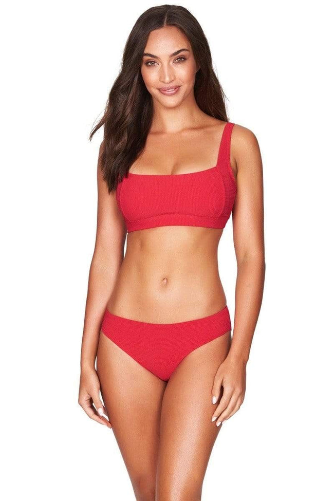 Red Rib Square Neck Bra Top