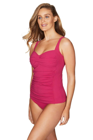 Riviera Rib Rose Twist Front Multifit Singlet Top <br> Final Sale