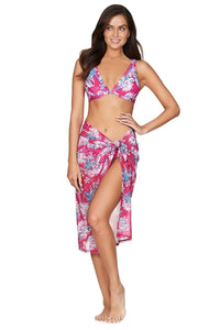 Bahamas Rose Mesh Swim Wrap
