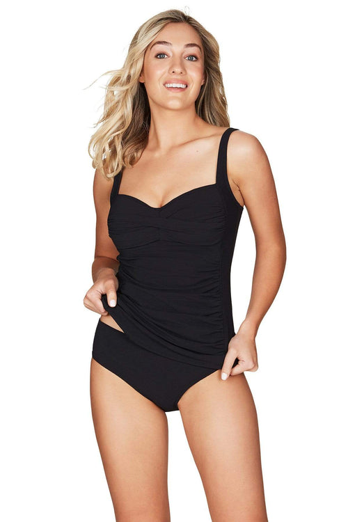 Riviera Rib Black Twist Front Multifit Singlet Top