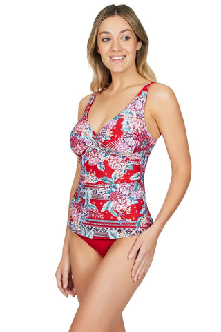 Aztec Rose Red Cross Front Singlet Top <br> Final Sale