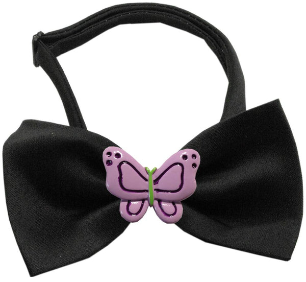 Purple Butterflies Chipper Black Bow Tie