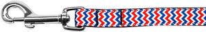 Patriotic Chevrons Nylon Ribbon Pet Leash 5/8 inch wide 6Ft Lsh