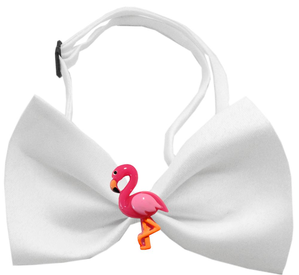 Pink Flamingo Chipper White Bow Tie