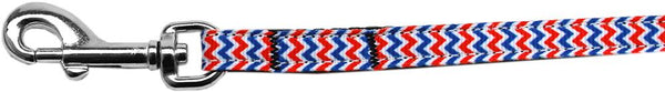 Patriotic Chevrons Nylon Ribbon Pet Leash 3/8 inch wide 6Ft Lsh