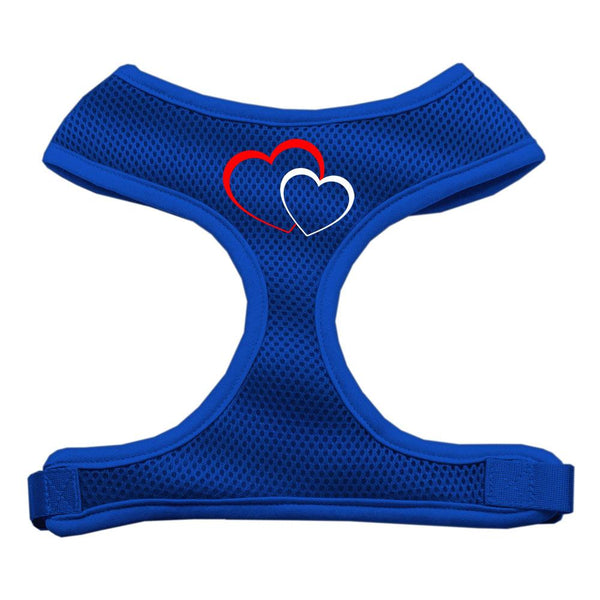 Double Heart Design Soft Mesh Harnesses Blue Large