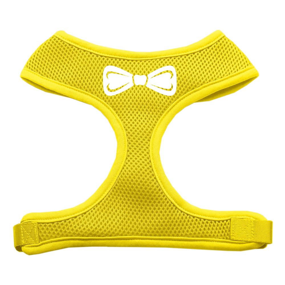 Bow Tie Screen Print Soft Mesh Harness Yellow Extra Large