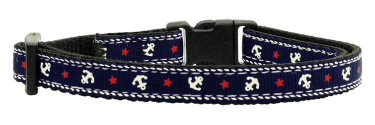 Anchors Nylon Ribbon Collar Blue Cat Safety