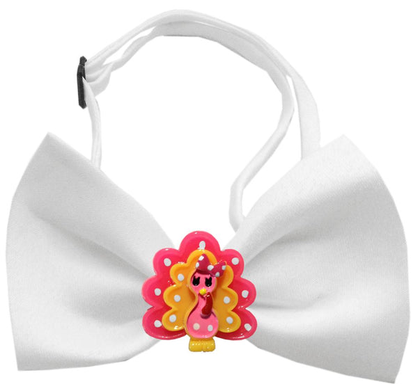 Pink Turkey Chipper White Bow Tie