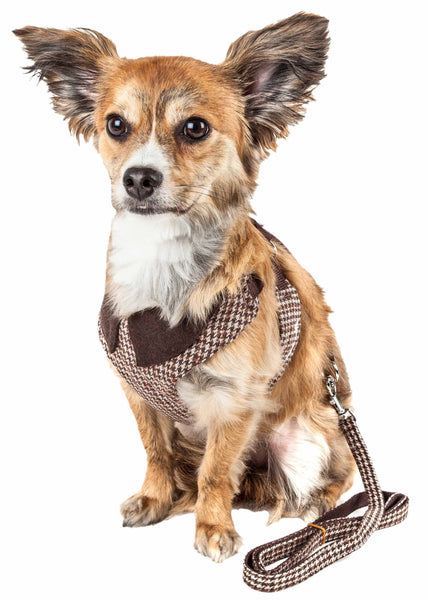 Pet Life ® Luxe 'Houndsome' 2-In-1 Mesh Reversible Plaided Collared Adjustable Dog Harness-Leash