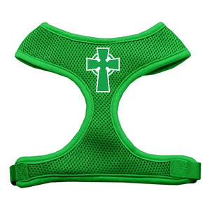 Celtic Cross Screen Print Soft Mesh Harness Emerald Green Large