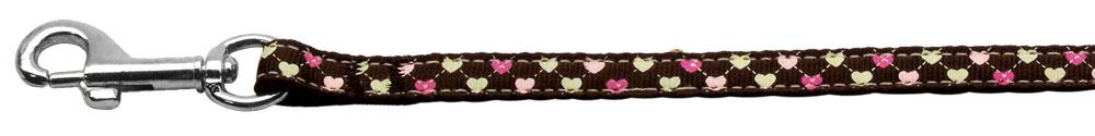 Argyle Hearts Nylon Ribbon Leash Brown 3/8 inch wide 4ft Long