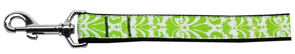 Damask Nylon Dog Leash 4 Foot Lime Green