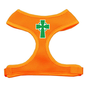 Celtic Cross Screen Print Soft Mesh Harness Orange Large