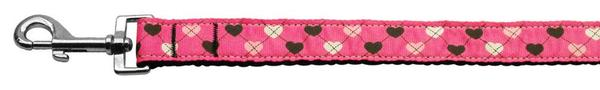 Argyle Hearts Nylon Ribbon Leash Bright Pink 1 inch wide 6ft Long