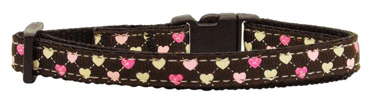 Argyle Hearts Nylon Ribbon Collar Brown Cat Safety