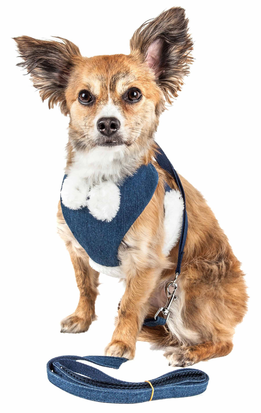 Pet Life ® Luxe 'Pom Draper' 2-In-1 Mesh Reversed Adjustable Dog Harness-Leash W/ Pom-Pom Bowtie