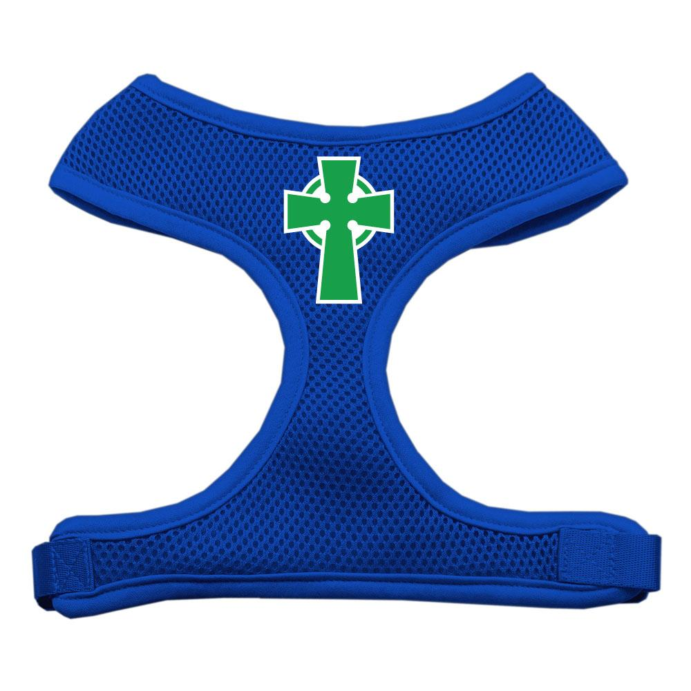Celtic Cross Screen Print Soft Mesh Harness Blue Small