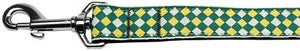 Green Checkers Nylon Dog Leash 1 wide 4ft Lsh