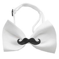 Black Moustache White Bow Tie