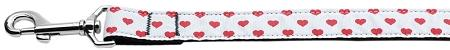 White and Red Dotty Hearts Nylon Dog Leash 6 Foot Leash