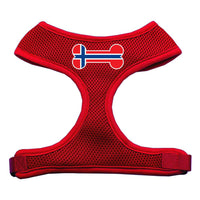 Bone Flag Norway Screen Print Soft Mesh Harness Red Large