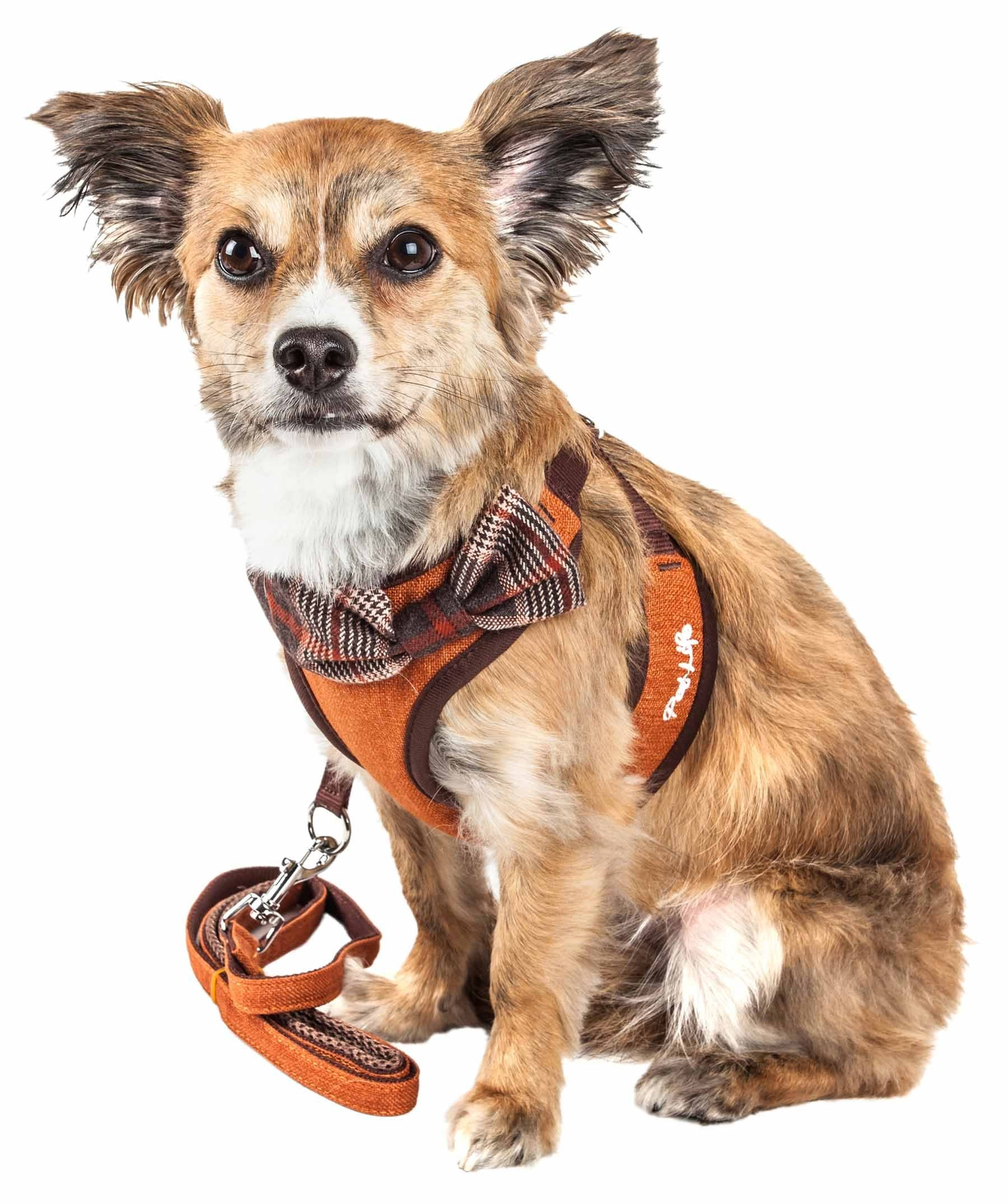 Pet Life ® Luxe 'Pawsh' 2-In-1 Mesh Reversed Adjustable Dog Harness-Leash W/ Fashion Bowtie