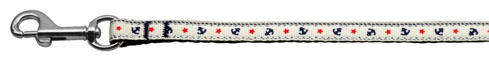 Anchors Nylon Ribbon Leash White 3/8 inch wide 4ft Long