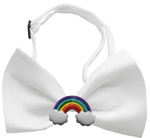 Rainbow Chipper White Bow Tie