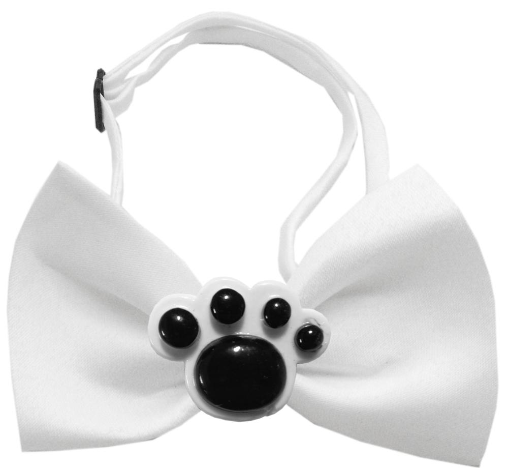 Black Paws Chipper White Bow Tie