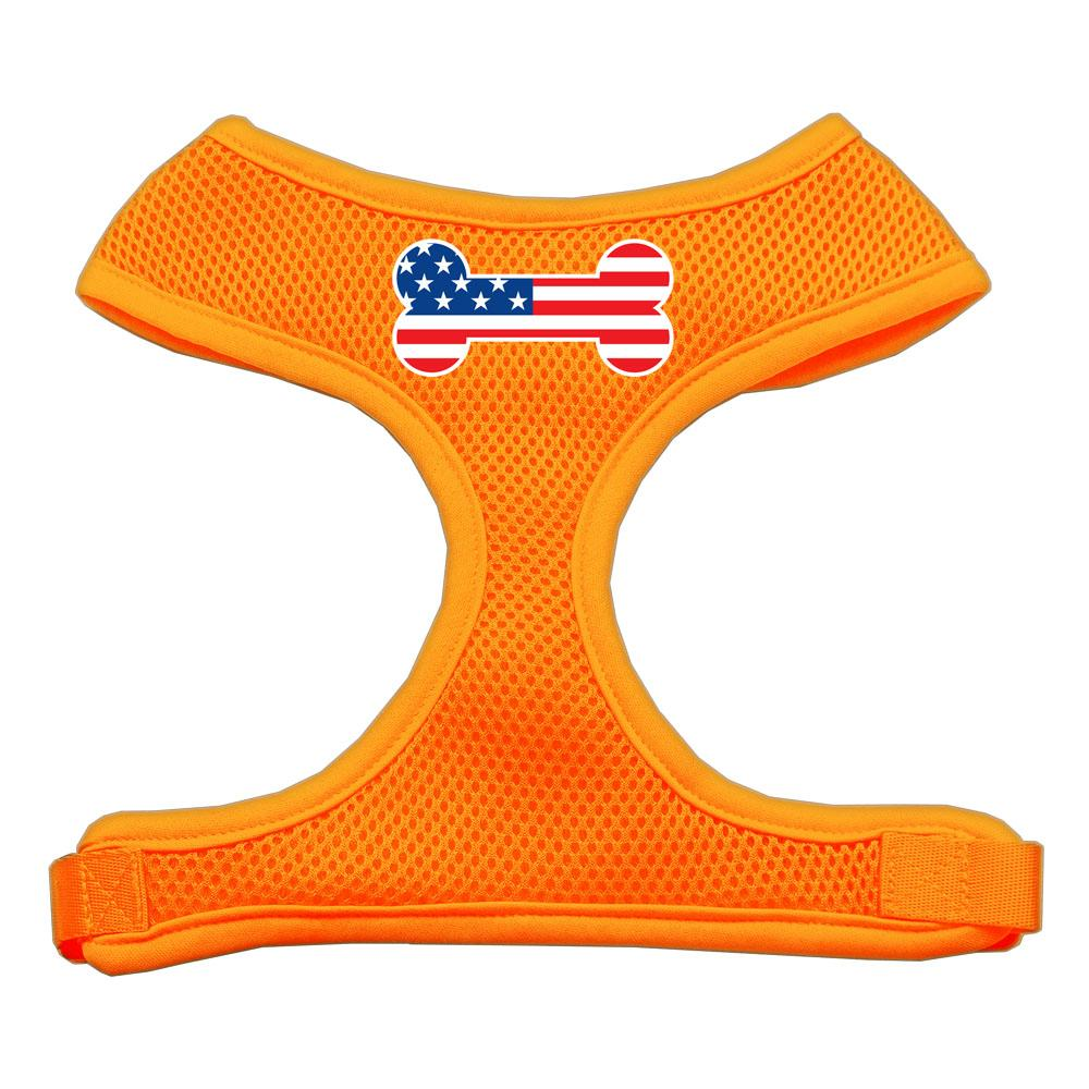 Bone Flag USA Screen Print Soft Mesh Harness Orange Extra Large