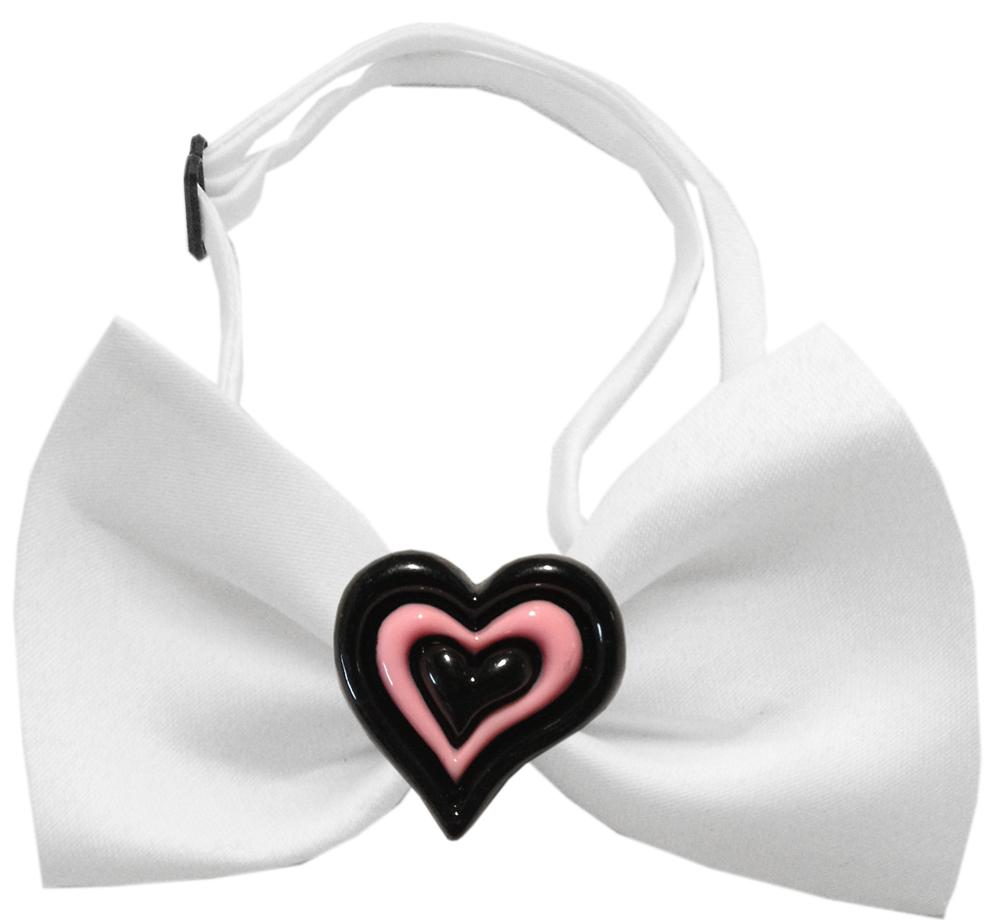 Black and Pink Hearts Chipper White Bow Tie