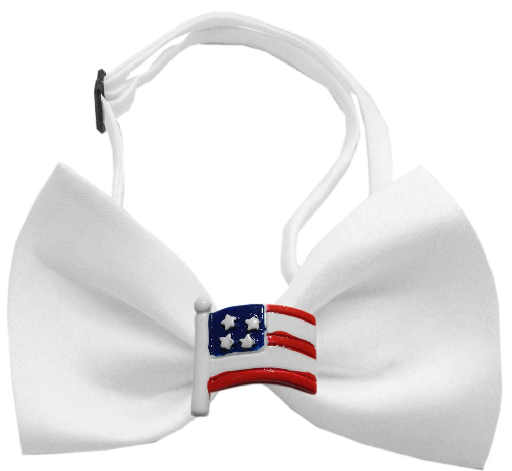American Flag Chipper White Bow Tie