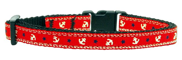 Anchors Nylon Ribbon Collar Red Cat Safety