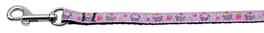 Cupcakes Nylon Ribbon Leash Purple 3/8 inch wide 4ft Long