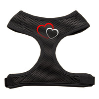 Double Heart Design Soft Mesh Harnesses Black Extra Large