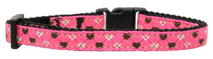 Argyle Hearts Nylon Ribbon Collar Bright Pink Cat Safety
