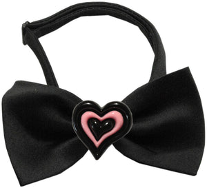 Black and Pink Hearts Chipper Black Bow Tie