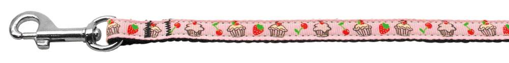 Cupcakes Nylon Ribbon Leash Light Pink 3/8 wide 6ft Long