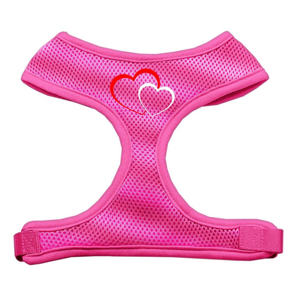Double Heart Design Soft Mesh Harnesses Pink Large