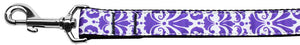 Damask Nylon Dog Leash 4 Foot Purple