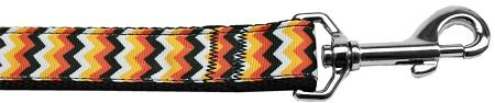 Pumpkin Chevrons Nylon Dog Leash 4 Foot