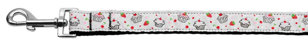Cupcakes Nylon Ribbon Leash White 1 inch wide 6ft Long