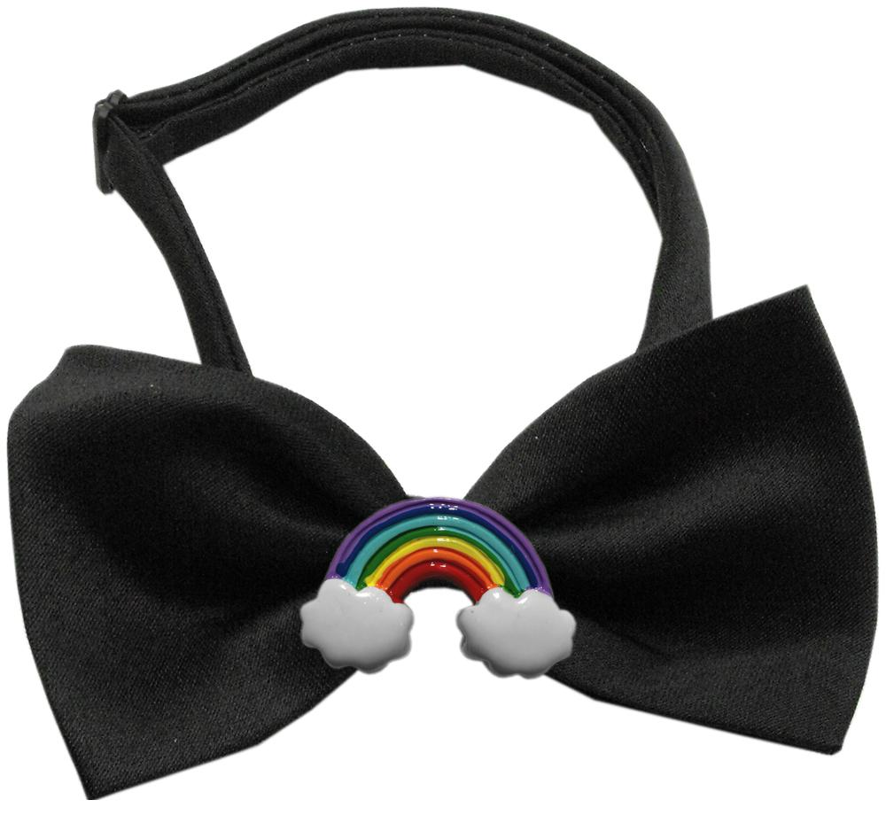 Rainbow Chipper Black Bow Tie