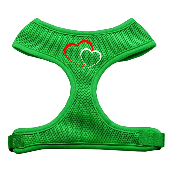 Double Heart Design Soft Mesh Harnesses Emerald Green Large