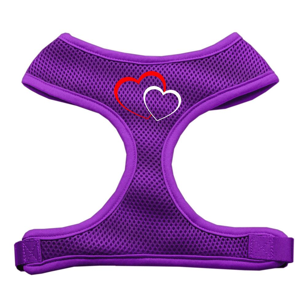 Double Heart Design Soft Mesh Harnesses Purple Medium