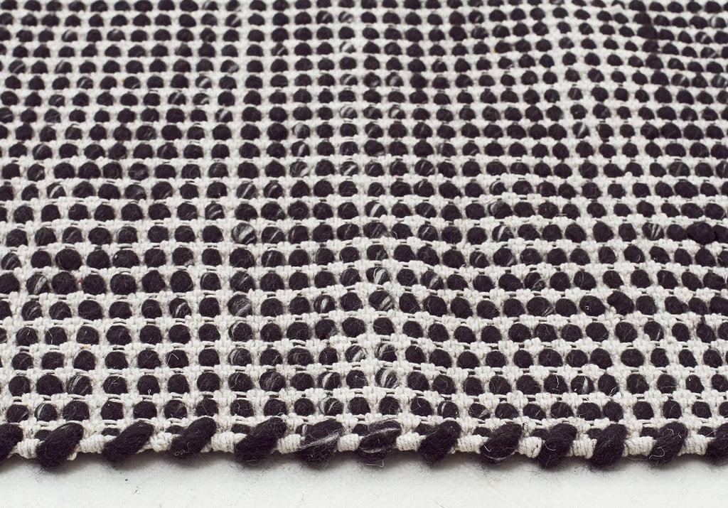 Visby Black Felted Wool amp White Hand Knotted Rug
