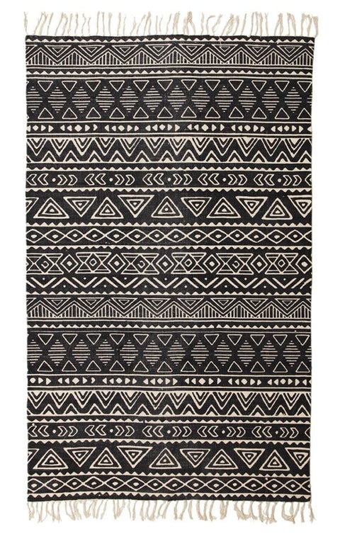 Masunga Black & Ivory Tribal Cotton Rug