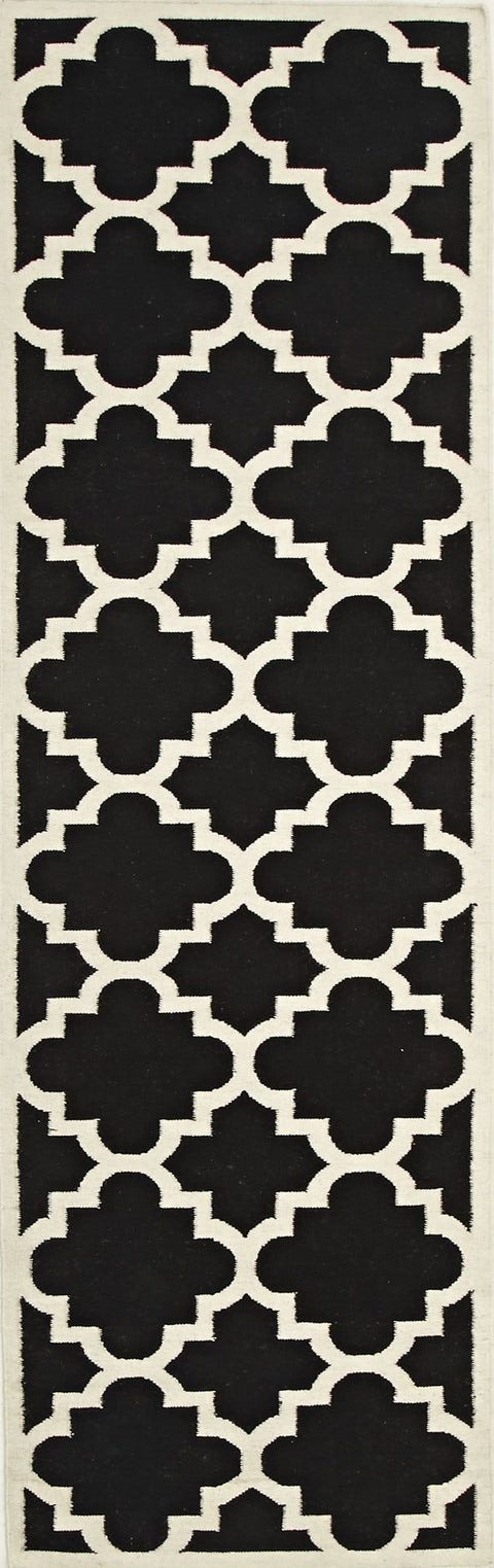 Tours Black and White Lattice Flatweave Runner Rug