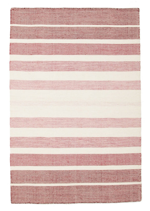 Formentera Blush Pink Striped Cotton & Wool Rug